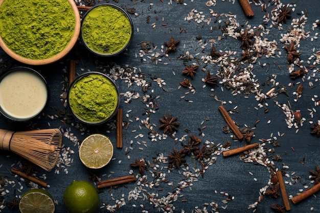 Top view arrangement of asian tea matcha ingredients