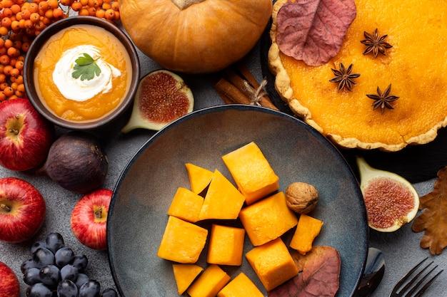 Top view arrangement of autumn food