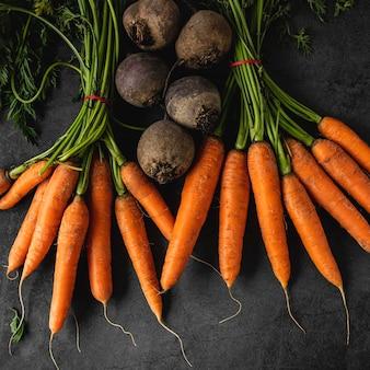 Top view arrangement of carrots