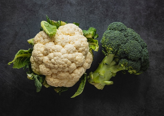 Top view arrangement of cauliflower