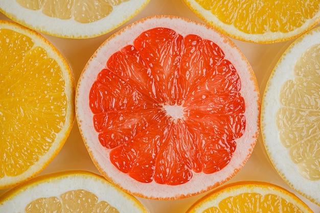 Top view arrangement of citruses close-up