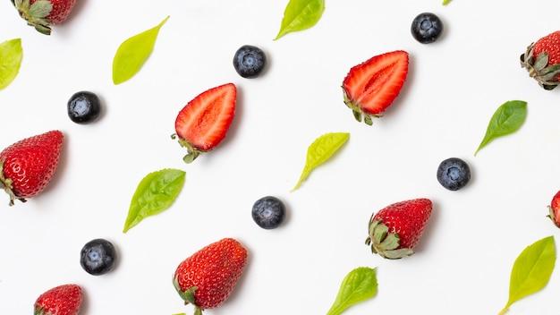 Top view arrangement of delicious ripe produces