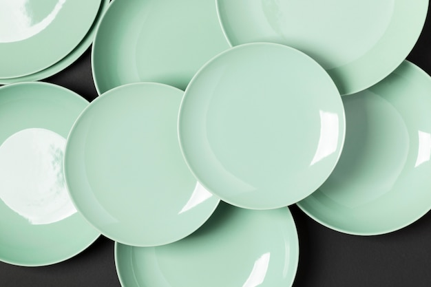 Top view arrangement of green plates