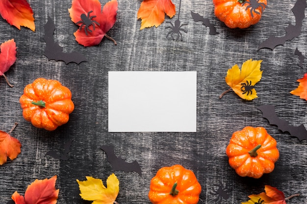 Top view arrangement of halloween elements