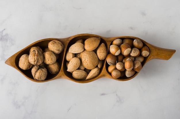 Top view arrangement of healthy nuts