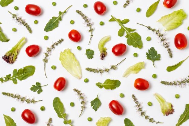 熟した美味しい農産物の上面図