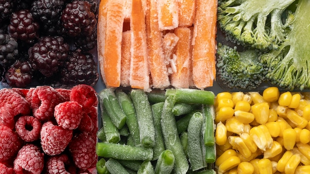 냉동 식품의 상위 뷰 배열