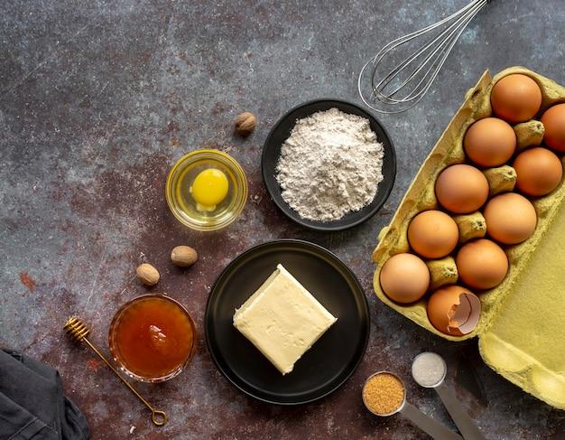 おいしい食べ物や食材の上面図の配置
