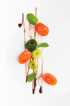 Вид сверху на расположение овощей