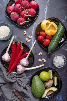 Top view arrangement of organic vegetables