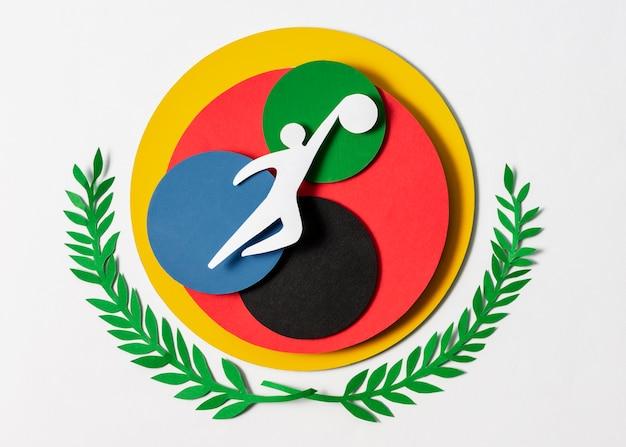 Disposizione vista dall'alto di forme olimpiche stile carta