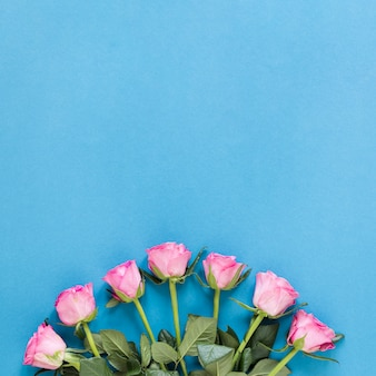 Top view arrangement of pink roses with copy space