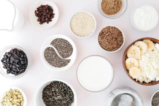 Top view arrangement of seeds in bowls