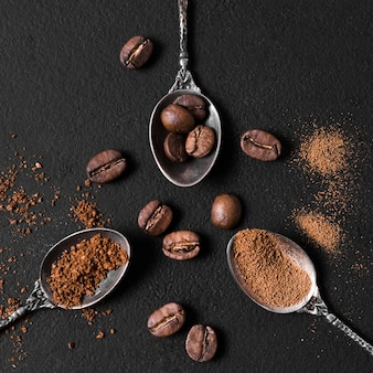 Top view arrangement of spoons filled with roasted coffee beans and powder