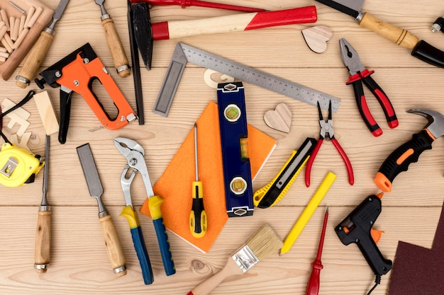 Top view arrangement of tools for carpentry