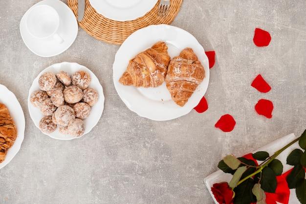 Top view arrangement with breakfast