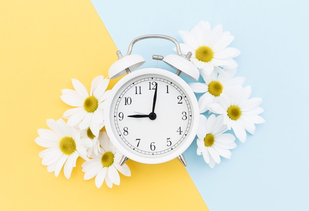 Top view arrangement with clock and daisies