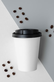 Top view arrangement with coffee cup mock-up