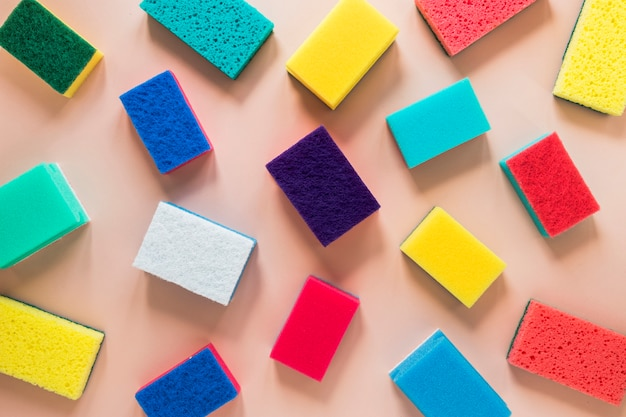 Top view arrangement with colorful cleaning sponges