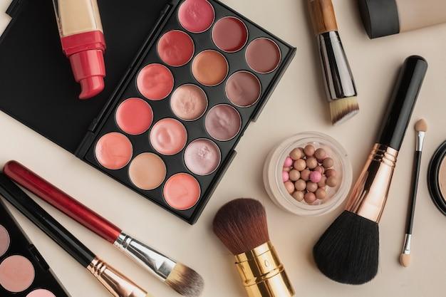 Top view arrangement with cosmetics