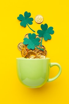 Top view arrangement with cup and clovers