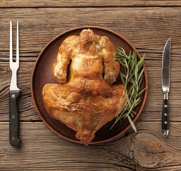 Top view arrangement with delicious turkey