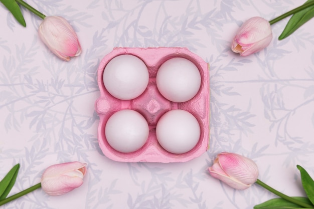 Top view arrangement with eggs and tulips