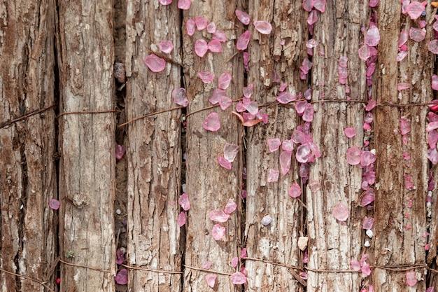 木製の背景上に花とトップビューの配置