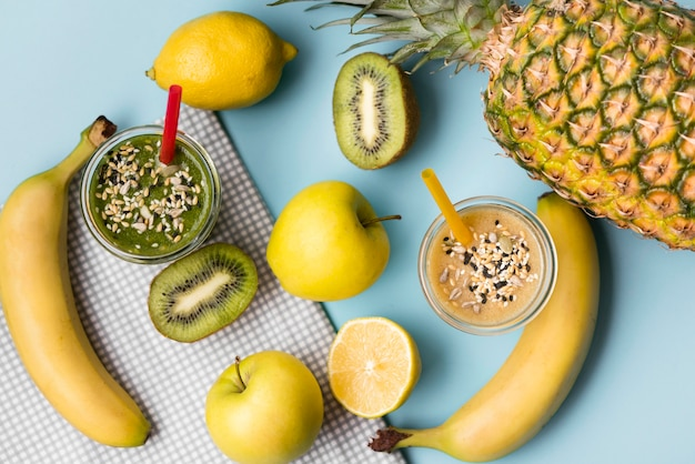 Top view arrangement with fruity smoothies