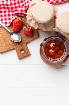 Top view arrangement with jam jars