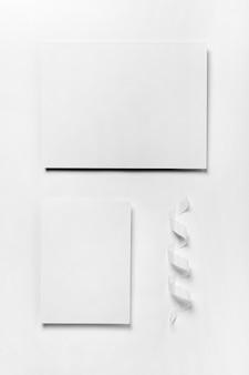 Top view arrangement with paper pieces