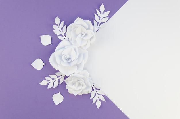 Disposizione vista dall'alto con piccoli fiori bianchi