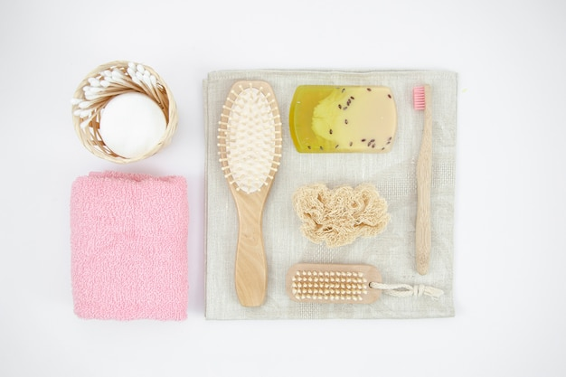 Top view arrangement with soap and brushes