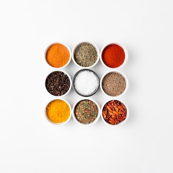 Top view arrangement with spices in bowls