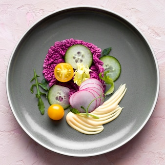 Top view arrangement with vegetables