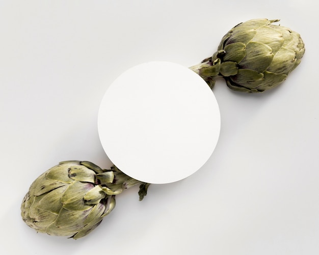 Top view of artichoke with copy space