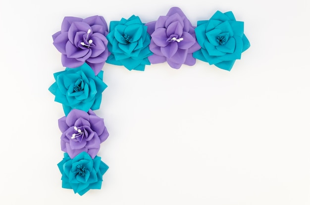 Top view artistic arrangement of paper flowers