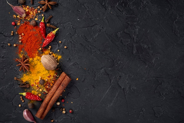 Top view asian food ingredients mix  with copy space