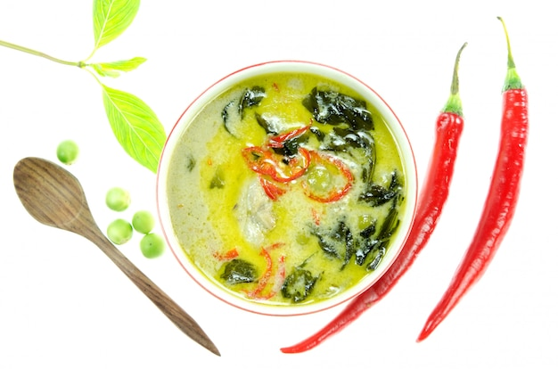 Top view asian style food green chicken curry on white background
