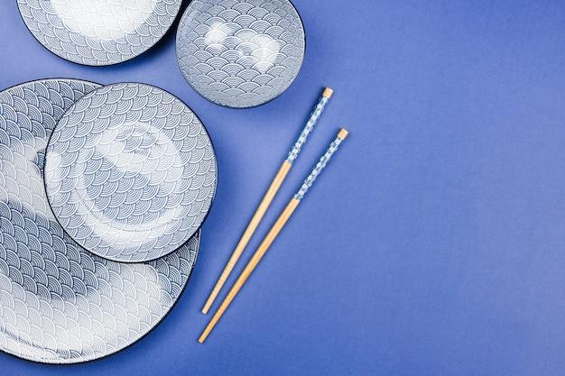 Top view of asian tableware