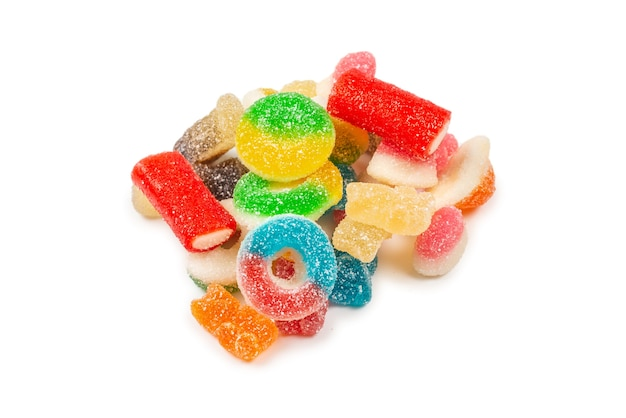 Top view on assorted gummy candies and jelly sweets