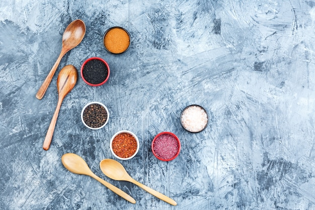 Top view assorted spices in small bowls with wooden spoons on grey plaster background. horizontal
