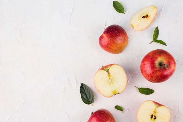 Top view assortment of apples with copy space