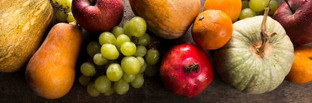 Top view of assortment of autumn fruits and vegetables