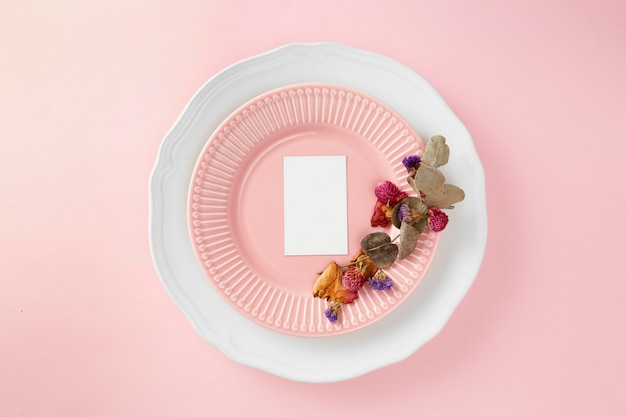 Top view assortment of beautiful tableware on the table