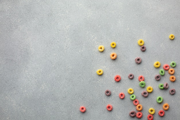 Top view assortment of colorful cereal