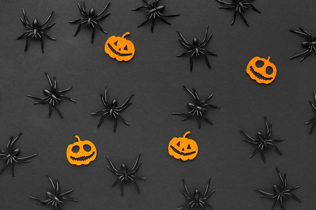 Top view assortment of creepy spiders for halloween
