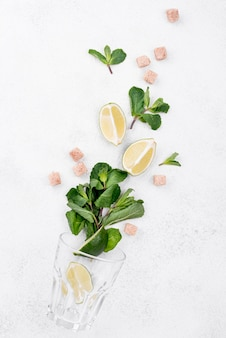 Top view assortment of different ingredients on white background