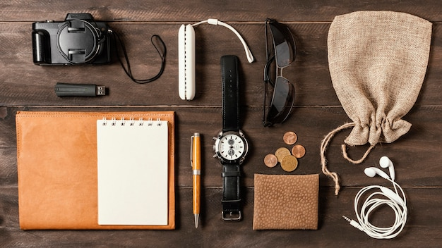 Top view assortment of different traveling elements