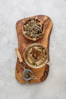 Top view assortment of dried plants